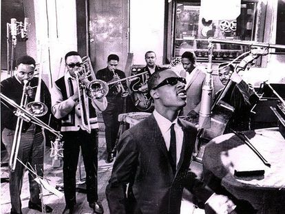 Stevie Wonder, durante una grabación para la Motown.