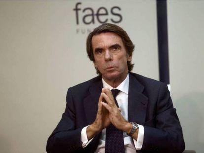 El expresidente del Gobierno José María Aznar el pasado noviembre en un desayono informativo.