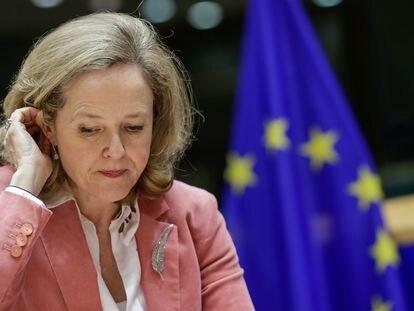 La vicepresidenta tercera y ministra española de Economía, Nadia Calviño, durante una reunión en Bruselas.