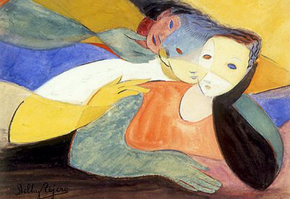 'Fusión de figuras' tituló esta obra, un dibujo de acuarelas y tinta de 1953.