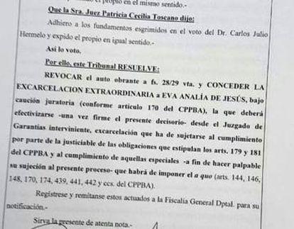 El fallo difundido por la periodista Verónica Ojeda.