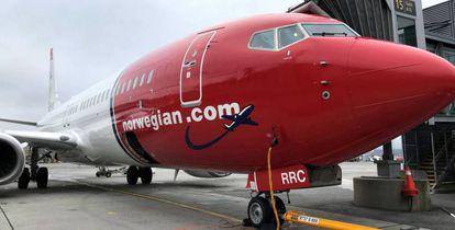 Uno de los aviones de la aerolínea Norwegian.