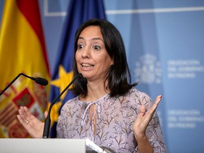 La delegada del Gobierno en la Comunidad de Madrid, Mercedes González, en la conferencia de prensa de este martes.