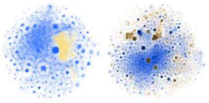 La desinformación (amarilla / marrón) se extiende dentro de la red Izquierda: las conspiraciones de los chemtrails se mezclan con conversaciones sobre el cielo. Derecha: las campañas antivacunas penetran en las discusiones sobre la gripe.