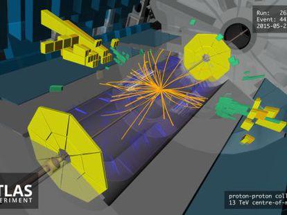 Registro de una colisión de partículas en el detector ATLAS del acelerador LHC el pasado 21 de mayo de 2015.