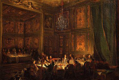 <b><i>Cena del príncipe Conti en el palacio del Temple, en París</b></i> (1766), de Michel-Barthélemy Ollivier.