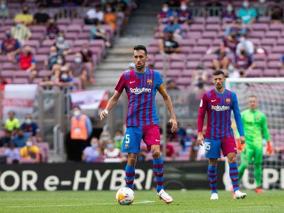 Busquets, en el partido del Barcelona en el Camp Nou ante el Getafe.