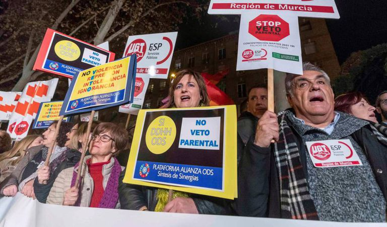 Protest in Murcia in January last year against the agreement of PP, Cs and Vox to develop the parental veto.