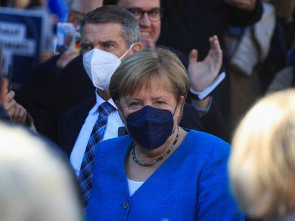 Merkel, este sábado en un acto electoral de su partido, la CDU, celebrado en Aquisgrán.