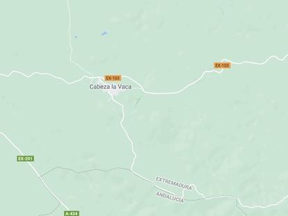 Captura de pantalla de Google Maps con el municipio de Cabeza la Vaca donde se produjo una deflagración que ha dejado a dos personas fallecidas.