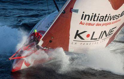 Tanguy de Lamotte , a bordo del 'Initiatives Coeur', en septiembre