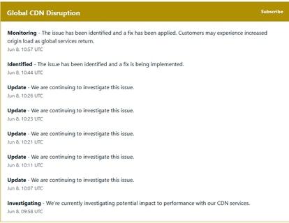 Captura del goteo de actualizaciones sobre el incidente en la página de Fastly