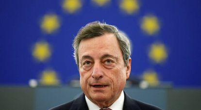 El presidente del Banco Central Europeo, Mario Draghi, durante el aniversario de la creación del euro.