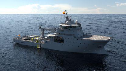Recreación virtual del futuro BAM IS (Buque de Acción Marítima de Intervención Subacuática) de la Armada.