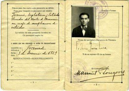 El pasaporte de García Lorca se expone estos días en la Biblioteca Pública de Nueva York