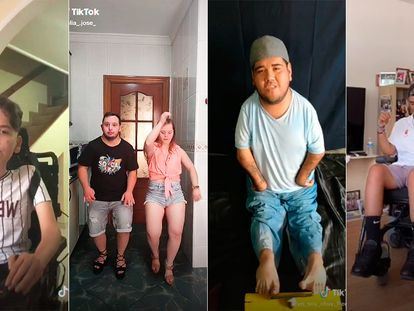 Cuatro creadores con algún tipo de discapacidad en vídeos recientes. De izquierda a derecha, @juan.pish, @celia_.jose_, @yo_soy_chuy_free_fire y @alanelruedas