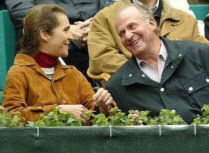 El rey Juan Carlos y la infanta Elena celebran la victoria de Carlos Moyá sobre el holandés Martin Verkerk, en 2004.