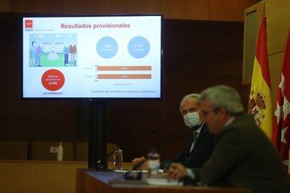 El consejero de Sanidad de la Comunidad de Madrid, Enrique Ruiz Escudero, informa sobre la situación epidemiológica y asistencial por coronavirus en la región el pasado 23 de julio .