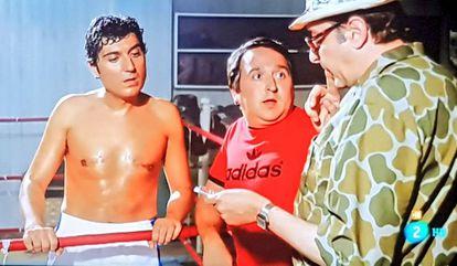 Andrés Pajares, Fernando Esteso y Antonio Ozores durante una secuencia de 'Yo hice a Roque III' (1980).