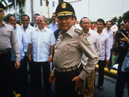 Noriega, en un homenaje a Omar Torrijos en Ciudad de Panamá en 1981
