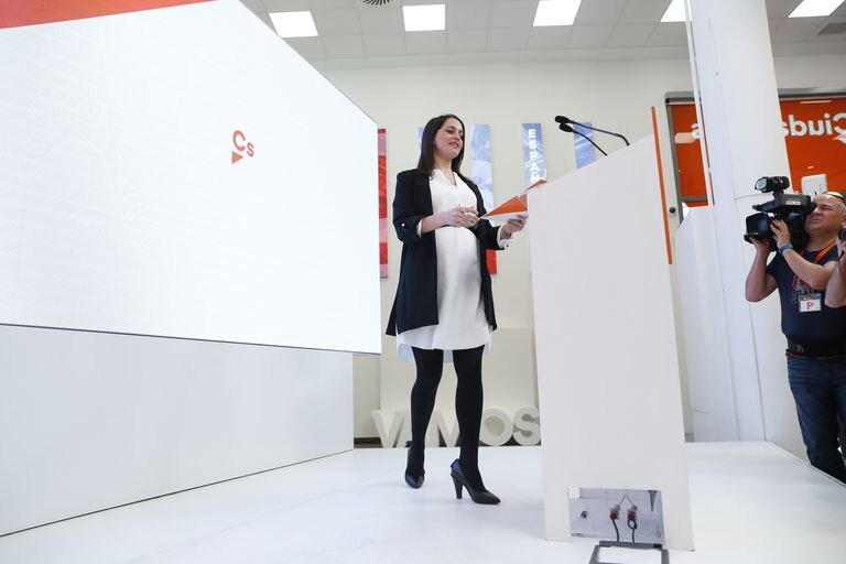 Inés Arrimadas, líder de Cs, en una de las últimas ruedas de prensa presenciales que concedió antes de la crisis del coronavirus.