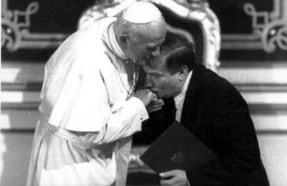 Juan Pablo II recibe a Walesa, en 1991