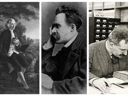 Imagen de Rousseau y fotografías de Nietzsche y Walter Benjamin.