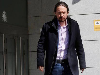 Pablo Iglesias, tras declarar como perjudicado en la Audiencia Nacional, en marzo de 2019.