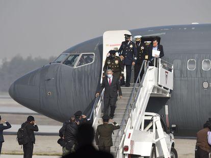 López Obrador llega a las instalaciones del futuro aeropuerto Felipe Ángeles, este miércoles.