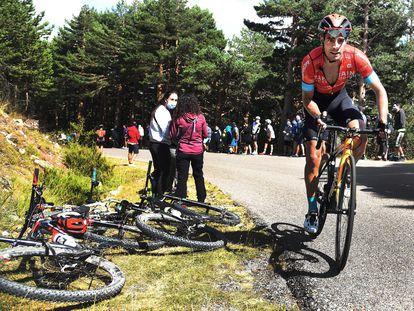 El ciclista Mikel Landa durante la subida al alto de Las Lagunas de Neila en la quinta y última etapa de la Vuelta a Burgos disputada el pasado sábado