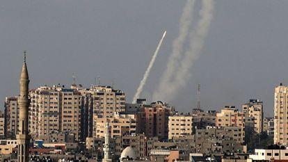 Palestinian militants fire rockets at Israel in Gaza.