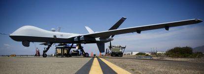 Un dron MQ 9 Reaper, en la base aérea de Oxnard, en California.