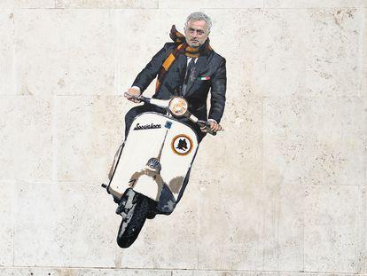 Un grafiti en el barrio de Testaccio, cuna de los tifosi de la Roma, celebra la llegada de Mourinho.
