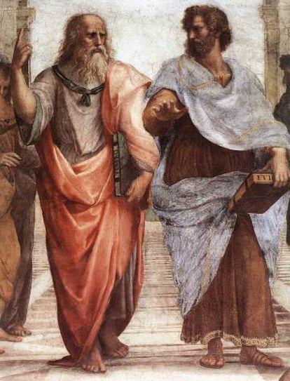 Aristoteles (derecha), junto con Platón, en un detalle de 'La escuela de Atenas', de Rafael.