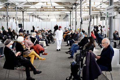 Waiting room for people who have received the AstraZeneca vaccine, on April 12 in Copenhagen.