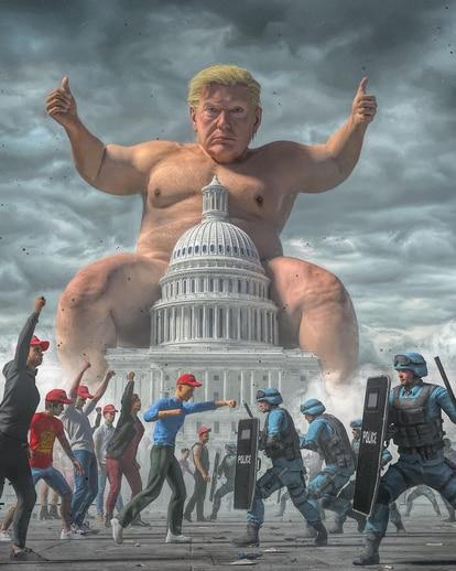Con obras como 'Endgame', en la que Trump aparece a horcajadas del Capitolio, Beeple critica al sistema de una forma bastante asumible.