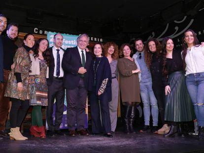 Artistas y organizadores del Festival de Jerez, este martes en Madrid.