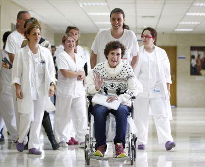 La auxiliar Teresa Romero cuando fue dada de alta el pasado 5 de noviembre.