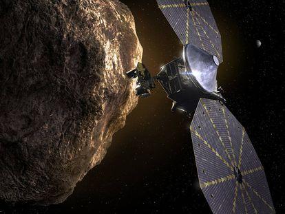 Recreación de 'Lucy' junto a un asteroide.