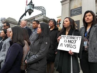 Acto de condena por los ataques racistas contra la comunidad asiática en EE UU, el pasado día 12 en Boston.