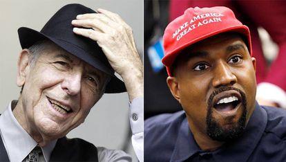 Leonard Cohen, durante un concierto, en agosto de 2012, y Kanye West, en un momento de su encuentro en la Casa Blanca con el presidente Donald Trump, el pasado 11 de octubre.