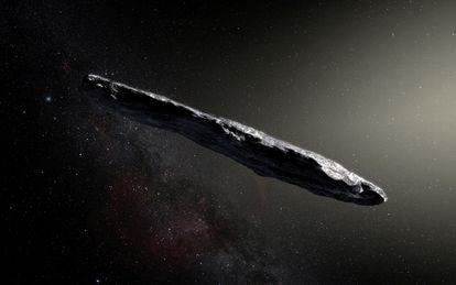 Recreación de Oumuamua, objeto descubierto en 2017.