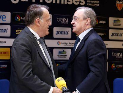 Javier Tebas y Florentino Pérez, en una imagen de archivo.