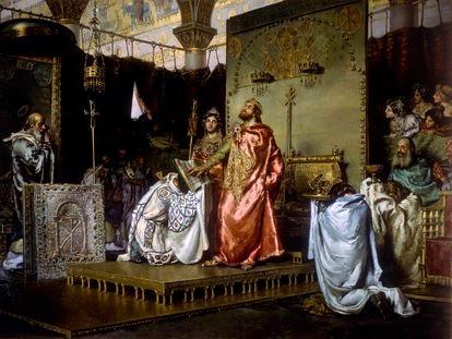 'La conversión de Recaredo', de Antonio Muñoz Degrain. El lienzo recoge el momento en que el rey godo abandona el arrianismo y se convierte al catolicismo, en Toledo en el año 589.