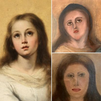 Imagen de una de las famosas Inmaculadas de Murillo (izquierda). A la derecha, la copia de un coleccionista valenciano, deformada tras la fallida restauración.
