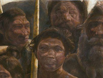 Representación de un grupo de homínidos en la Sima de los Huesos, en el yacimiento de Atapuerca.