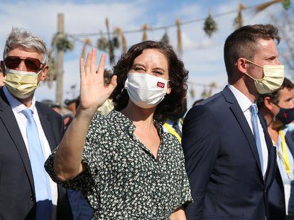 La presidenta de la Comunidad de Madrid, Isabel Díaz Ayuso, acude al acto de presentación oficial del parque temático de Puy du Fou, en Toledo.