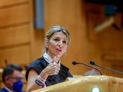 La vicepresidenta segunda y ministra de Trabajo y Economía Social, Yolanda Díaz, este martes en el Senado.