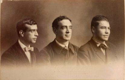 Joan Baptista Coromina, Tomàs Gallart y Josep Pla, en 1918