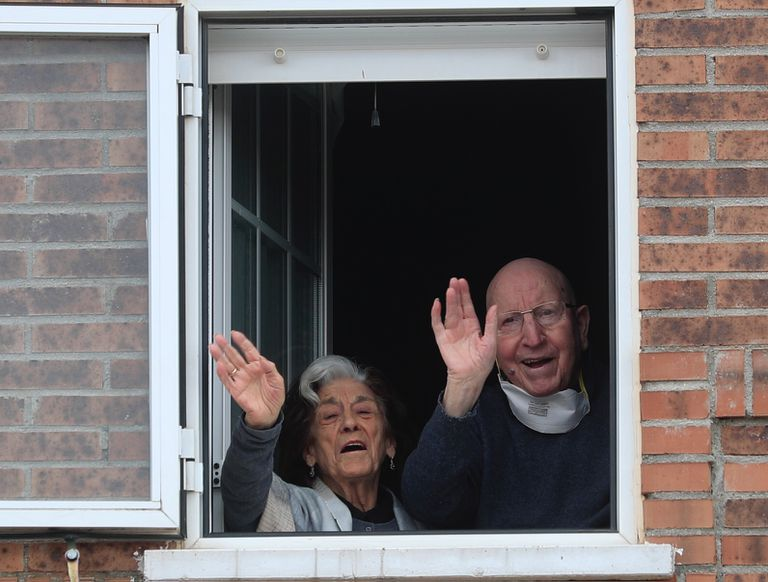 José and Guadalupe, a couple recovered from the Covid-19 at their home in Villanueva De la Torre, Madrid.